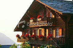 Chalet, Suisse, Montagne, Balcon, Fleur Photo libre de droits