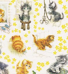 Vintage Gift Wrap Fluffy Kittens by hmdavid. This would look cute in frames as pictures Cute Fluffy Kittens, Kittens Cutest Baby, Baby Cats, Cats And Kittens, Cute Cats, Kitten Tattoo, Art Carte, Vintage Wrapping Paper, Vintage Cards