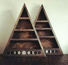 moon phase triangle shelf for crystal storage