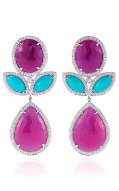 Sapphire, Turquoise, And Diamond Earrings In White Gold by Dana Rebecca on Moda Operandi