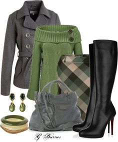 grey and green skirt, fall,  work style The sweater would look bulky under the coat, but anything is better with boots [<3 them]