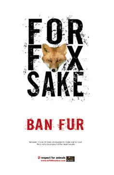 For Fox Sake! Ban Fur. Don't bother repinning from me if you like or pin photos of fur.