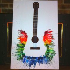 Fun and Budget Friendly Melted Crayon Art Ideas Melted Crayon Guitar. Deco Originale, Ideias Diy, Melting Crayons, Art Plastique, Oeuvre D'art, Diy Art, Cool Art, Art Projects, Project Ideas