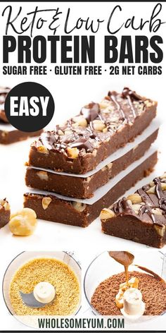 Keto Low Carb Bars Recipe - Smash your chocolate cravings with this low carb keto protein bars recipe in a dreamy chocolate hazelnut flavor! These high protein low carb bars have just net carbs + protein. High Protein Desserts, Low Carb Bars, Low Carb Protein Bars, Keto Bars, Protein Bar Recipes, Healthy Low Carb Recipes, Protein Snacks, Low Carb Keto, Diet Recipes