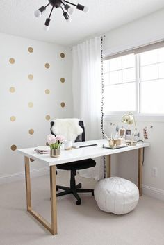 Gold and Girly Home Office Desk. Sometimes we need to bring work home. A home office is very essential in home decor. But we doesn't need to spend much on it. Here is a perfect DIY home office desk for girls. Furniture, Home Office Desks, Home Office Decor, Interior, Girly Office, Ikea Desk Hack, Home Decor, Desk Decor, Trendy Home
