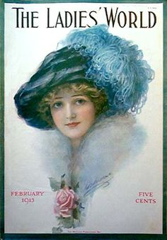"""The Ladies' World"" magazine cover - February 1913 Old Magazines, Vintage Magazines, Vintage Pictures, Vintage Images, Vintage Prints, Vintage Posters, Vintage Artwork, Illustration Art Nouveau, Magazin Covers"