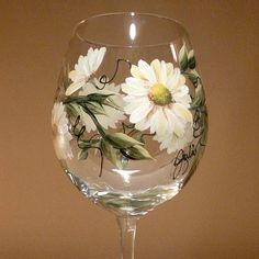 Hand Painted Wine Glass  Daisies by StoneCreekArt on Etsy, $15.00