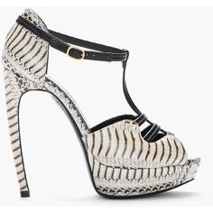 ALEXANDER MCQUEEN Beige Leather Tiger Snake Print T-Strap Heels ($1,495) ❤ liked on Polyvore