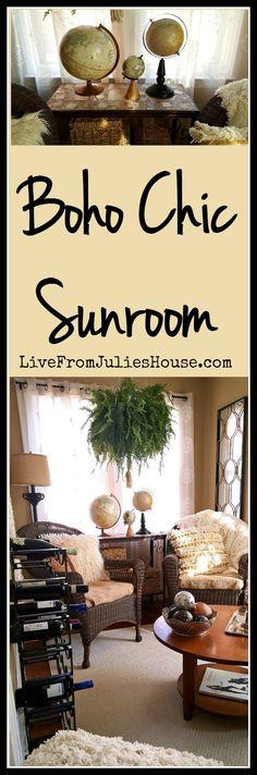 Boho chic sunroom - Descubra como eu transformei uma pequena sala estranha na minha casa em um solário boho chic com muita personalidade e estilo - sem quebrar o banco.