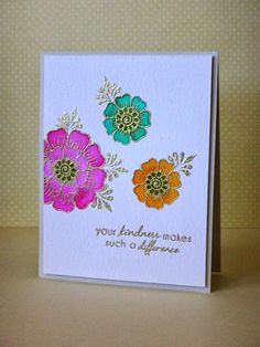 Watercolor and gold embossing