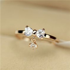 Adorable 14k Rose Gold Plated Princess Style Fashion Bow Ring for Girls