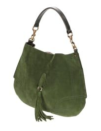 Handtasche aus weichem Veloursleder mit Quaste