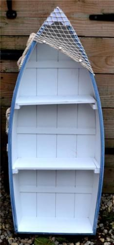 62cm-WOODEN-BLUE-WHITE-ROWING-BOAT-SHELVES-Nautical-Seaside-Shelf-Unit
