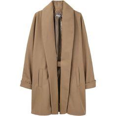 Surface to Air / Shawl Coat ($675) ❤ liked on Polyvore featuring outerwear, coats, jackets, coats & jackets, women, shawl collar coat, oversized camel coat, shawl coat, brown coat and surface to air