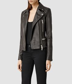 Womens Bleeker Leather Biker Jacket (Granite)