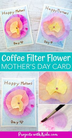 This flower Mother's Day card craft is such a beautiful project for kids to make for their moms or grandmas for Mother's Day! Coffee filters and watercolor paint make a gorgeous flower while the background is made with a unique and easy watercolor t Mothers Day Crafts For Kids, Diy Mothers Day Gifts, Crafts For Kids To Make, Happy Mothers Day, Art For Kids, Best Mothers Day Cards, Mother's Day Projects, Craft Projects For Kids, Mother's Day Activities