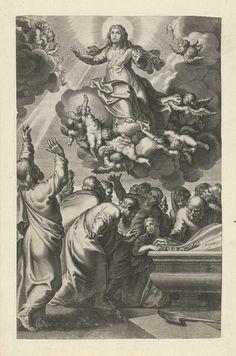 Peter Paul Rubens | Hemelvaart van Maria, Peter Paul Rubens, c. 1612 - c. 1616 | De maagd Maria zit op een wolk en wordt door engelen richting de hemel geleid. De twaalf apostelen buigen zich over het lege graf. De prent is deel van een serie met scènes uit het Oude en Nieuwe Testament.