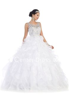 Ball Gown Scoop-Neck Sleeveless Organza Corset Back Dress With Beading And Ruffles