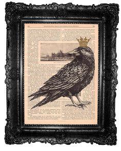 Crow ORIGINAL ARTWORK  crow print Mixed Media print  by ArtElem, $8.97