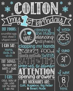 Snowflake First Birthday Chalkboard Poster // 1st Birthday Chalkboard Sign // Custom Printable // Boy // Winter ONEderland // Silver by PersonalizedChalk on Etsy https://www.etsy.com/listing/216106965/snowflake-first-birthday-chalkboard