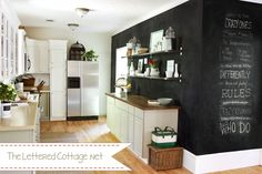 Chalkboard wall + great use of wall space