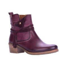Women's Pikolinos Zaragoza Ankle Boot W9H-8800 - Garnet Leather Ankle... ($200) ❤ liked on Polyvore featuring shoes, boots, ankle booties, leather booties, cowboy boots, leather boots, leather bootie and cowboy booties