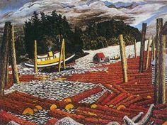 Logd at Ladysmith Harbour, Edward John Hughes Canadian artist Small Paintings, Canadian Artists, Vancouver Island, British Columbia, Canada, Art Prints, Logs, Artwork, Image