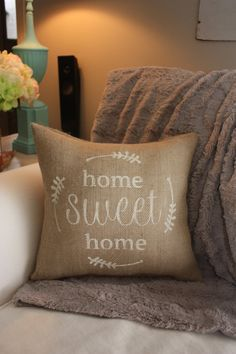 Burlap Pillow / Home Sweet Home Housewarming by TheSunnyHunnyBee