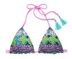 Victoria's Secret VS Reversible Triangle Top L Black Bali Embroidery Bikini Swim #VictoriasSecret #BikiniTop