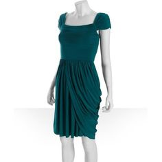 BCBGMAXAZRIA Deep Jade Jersey 'mikaela' Draped Skirt Dress ($97) ❤ liked on Polyvore