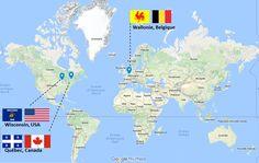 "Les 3 ""NAMUR"" dans le monde : Belgique, Etats-Unis, Canada. The 3 ""NAMUR"" in the world :  Belgium, Canada, USA"