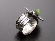 Argentium Silver Peridot and Pearl OOAK Ring by RocknDesigns