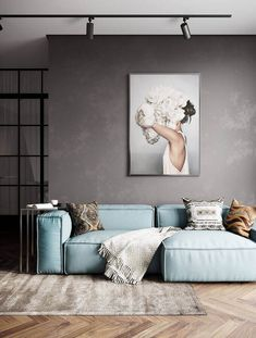 modern sofa decorated for modern living room with fired concrete wall About Sofás Modernos: Saiba Co