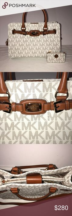 "Michael Kors Large Hamilton w/ Matching Key Pouch Brand new with tags. Authentic Michael Kors Large Hamilton in Vanilla and brown. Monogrammed. 10.1H x 14.5L x 6W. Free Bonus brand new with tags matching Michael Kors key pouch. 5""L x   2.75""H.  This is a a tech friendly handbag. Specifically designed with a padded interior to fit most laptops and tablets. Value $426. Please take a look at my other listings. I would be happy to bundle for you at a discount. Follow me too :) MICHAEL Michael…"