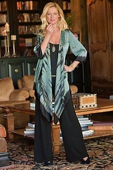 tank top and long cardi (could be made from the Infinity Sweater by One Girl Circus)  with Wide Leg Pant