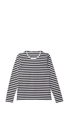 The long-sleeved Mari shirt is made of cotton jersey in the classic Tasaraita (even stripe) pattern. Stripes Fashion, Marimekko, Types Of Shirts, Shirt Types, Capsule Wardrobe, Shirt Outfit, Fashion Outfits, My Style, Clothes