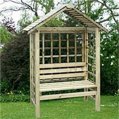 A comfortable garden seat ideal for shading seating in a quiet corner of the garden. Fully pressure treated construction, with part assembled panels for quick and easy installation. Sides and rear are enclosed by square lattice panels to enable plant growth to climb and cover the seat if desired.