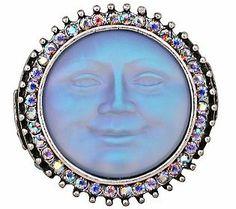 Kirks Folly Seaview Moon Dream Stone SilvertoneStretch Ring