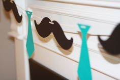Little Man Ties and Mustaches Theme Baby Shower or Birthday Garland Banner - You Pick Your Colors - FREE SHIPPING over 25.00. $18.00, via Etsy.