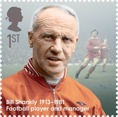 Great Britons - Issued April Bill Shankly Football player and manager. Bill Shankly was a Scottish footballer and manager who achieved his greatest successes at Liverpool FC, with whom he won three First Division titles, two FA cups and the UEFA Cup. Best Football Team, National Football League, Football Players, Football Info, Free Football, Royal Mail Stamps, Uk Stamps, Postage Stamps, Liverpool Home