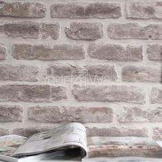 SALE £2 OFF'Brick House' wallpaper Stone Brick Effect Wallpaper in Stone & Cream