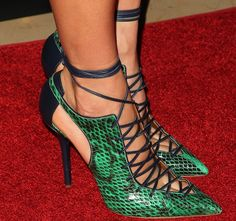 """Nikki Reed in Stunning Malone Souliers """"Montana"""" Lace-Up Pumps"""