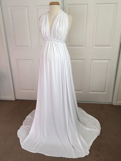 Your place to buy and sell all things handmade - White Jersey Maternity Infinity Gown, Maternity Dress, Maternity photo props, senior photo, wedding - Maternity Photo Props, Maternity Gowns, Maternity Fashion, Casual Maternity, Shower Outfits, Baby Shower Dresses, Infinity Gown, Pregnant Wedding Dress, White Jersey