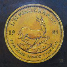 Geldgeschenke - GELDGESCHENK MÜNZE Leinwanddruck Krügerrand 1981 - ein Designerstück von LeinwandKacheln bei DaWanda