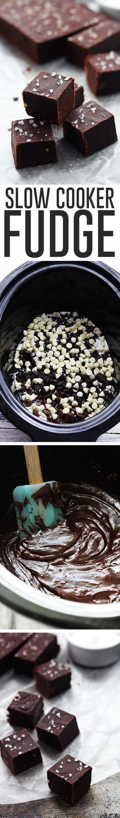 Creamy, easy homemade fudge made right in your crock pot! Top it with coarse sea salt for extra richness and elegance!