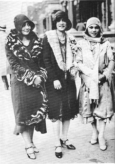 Three Flappers (1927)- wearing styles of the time period with fur-trimmed coats, t-strapped shoes and cloch hats