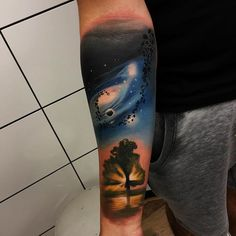 Tree & space tattoo done today with @worldfamousink @barber_dts #rocknroll…