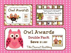 This pack of 30 awards includes two of my owl award packs (Owl Theme Awards: Look Whooo's a Great Student AND Read OWL About It: Great Student Awards) in one at a discounted rate. ($)