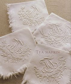 Beautiful embroidery on napkins Embroidery Monogram, White Embroidery, Embroidery Patterns, Hand Embroidery, Machine Embroidery, Embroidery Fonts, Chenille, Linens And Lace, Monogram Fonts