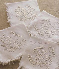 embroidered & monogrammed tea napkins